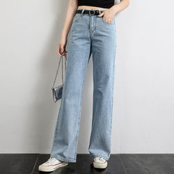 Wide Leg Jeans Women High Street Fashion Denim Blue Trousers 2019 Full Length Simple Loose Straight Pants Ladies Casual Trousers