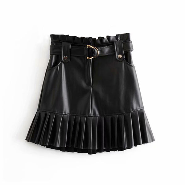 Women Black PU Leather Skirt with Belt Fashion Streetwear Ruffles Pleated Mini Skirts A line Party Club Sexy Short Skir