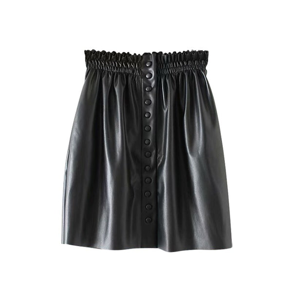 Women Black Pu Leather Pleated Mini Skirts Stylish Elastic Paperbag Waist Ladies Skirts Elegant Ladies Faux Leather Solid Skirts