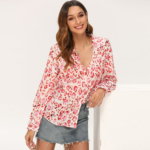 Women Blouses 2019 Fashion Printed Long Sleeve Vintage Blouse Shirt Casual Turn Down Collar Ladies Tunic Tops Plus Size Blusas
