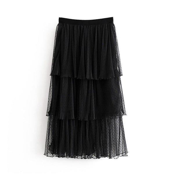 Women Chic Sexy Lace Mesh Skirt 2019 Multi Layered Ruffled Ladies Midi Skirts Casual Elastic Waist Elegant Straight Skirt