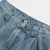 Women Denim Jeans Casual Female Tie legs High Waist Long Pants Loose Pockets Harem Trousers Button Streetwear Jeans