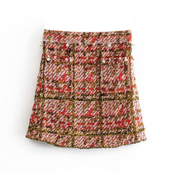 Women Elegant Chic A line Plaid Mini Skirt 2019 Stylish Pearl Decorate Knitted Pocket Skirt High Waist Ladies Vintage Skirts