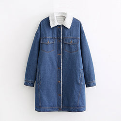 Women Fashion Denimn Long Jacket Casual Turn Down Collar Cotton Linen Coat Single Breasted Elegant Ladies Jackets Winter 2019