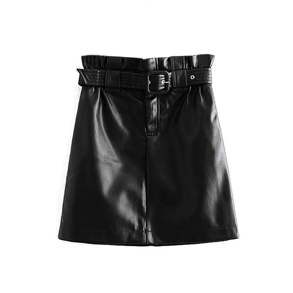 Women Fashion PU Faux Leather Skirt With Belt 2019 High Waist Pleated Streetwear Skirts Chic A Line Mini Skirt Faldas Mujer