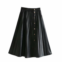Women Faux Leather Pleated Skirt Fashion Loose A line Skirts Female 2019 Autumn Winter Elegant Office Lady Midi Skirt