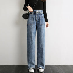 Women High Waist Jeans Woman Boyfriend Blue Color Wide Leg Loose Pants For Ladies Grils Long Length Korean Denim Jean Trousers