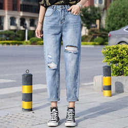 Women High Waisted Ripped Jeans Hollow Out Pants Korean Slim Fit Ankle length Denim Pants Ladies Hole Jeans Plus Size Trousers