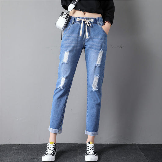 Women Jeans Pants 2019 Ankle Length Harem Trousers Waist Drawstring Tassel Ripped Denim Pants Distresses Jeans