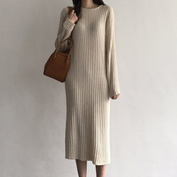 Women Knitted Long Dress Elegant Ladies O neck Solid Sweater Dress Autumn Winter Casual Knit Female Straight Soft Midi Dress