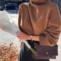Women Knitted Sweater 2019 Turtleneck Casual Long Sleeve Solid Color Sweater Autumn Winter Warm Pullover Pull Femme Hiver