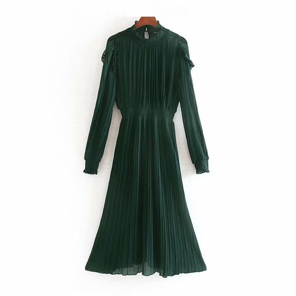 Women Long Chiffon Dress Ruffles Long Sleeve Elegant Party Dress Ladies Fashion Loose Pleated Beach Midi Dress Vestidos