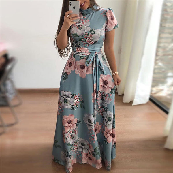 Women Long Maxi Dress 2019 Boho Floral Print Summer Dress Casual Short Sleeve Turtleneck Bandage Bodycon Party Dress Vestidos