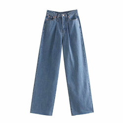 Women Loose High Waist Blue Jeans Wide Leg Long Length Casual Trousers Pleated Baggy Straight Buttoms Lady Basic Jeansy Damskie