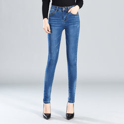 Women Pencil Jeans Fashion High Waisted Skinny Jeans Retro Long Pants Solid Elastic Slim Ladies Pockets Washed Denim Trousers