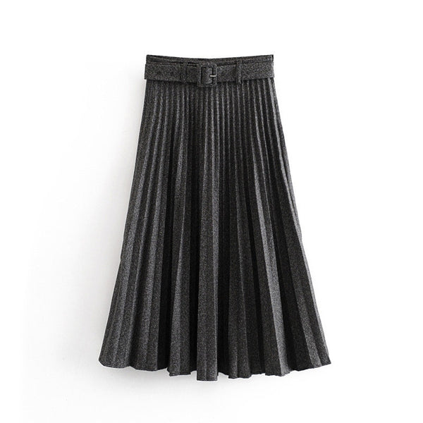 Women Pleated Skirt Autumn Winter High Waist Belt Solid Color Zipper Lady Skirts Elegant Female Saias Loose Mid length Skirt