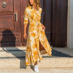 Women Print Long Dress 2020 Autumn Spring Long Sleeve Buttons Split Dress Casual Turn down Neck Ladies Sashes Shirt Dresses