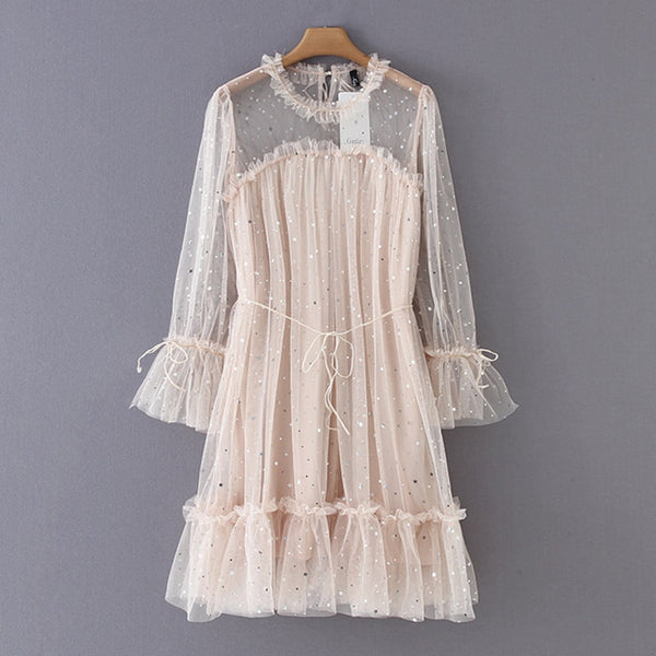 Women Sequin Lace Dress Long Sleeve Sexy See Through Mesh Elegant Party Dress Ladies Loose Pleated Beach Short Dress Vestidos