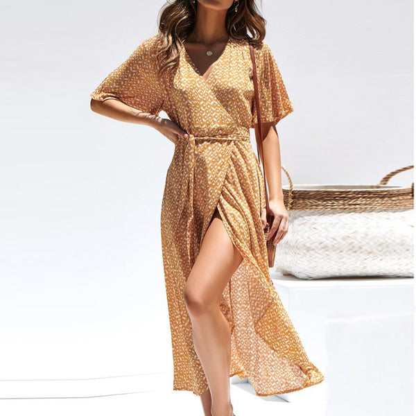 Women Sexy Floral Print Long Summer Dress 2019 Boho V Neck Short Sleeve Split Maxi Beach Dress Sundress Robe Longue Femme Ete