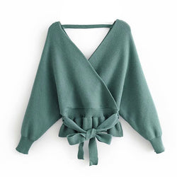 Women Sexy V Neck Backless Elegant Sweater Tops Solid Long Sleeve Casual Jumper Female Chic Bow Tie Sashes Pullover Sweater
