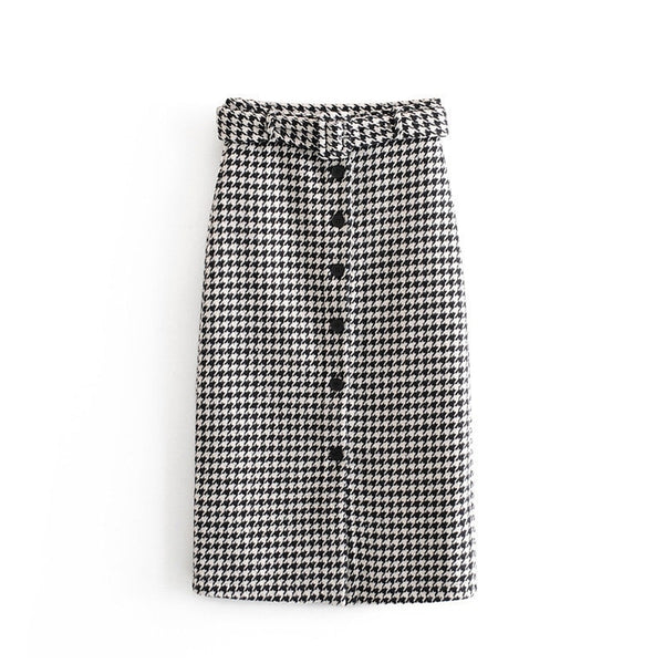 Women Skirts Vintage Elegant Tweed Houndstooth Midi Skirt With Belt Fashion Office Ladies Button Decorate Chic Plaid Split Skir