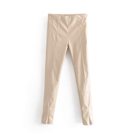 Womens Ladies Faux Leather High Waist Jogging Bottoms Pants Stretch Trousers