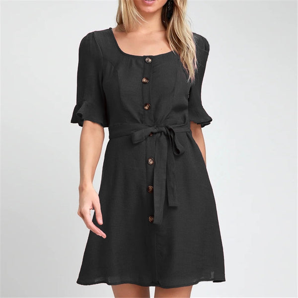 Women Summer Dress Casual Short Sleeve Elegant Bandage Black Party Dress Leisure Buttons Mini Beach Dress Sundress Vestidos