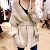 Women Sweater Coat 2019 Autumn Winter Loose Casual Warm Cardigans Sweaters Ladies Knitwear Wide Sleeve Solid Cardigan With Belt
