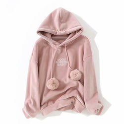 Women Velvet Pink Hoodies Cute Winter Loose Hairball Hooded Sweatshirt Harajuku Long Sleeve Pullover Casual Loose Letter Hoodies