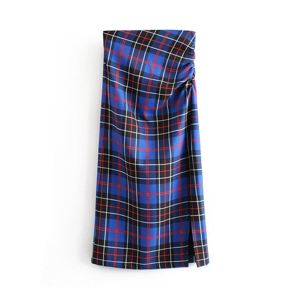 Women Vintage Elegant Plaid Split Midi Skirt 2019 Fashion High Waist Back Zipper Office Pleated Skirts Casual Faldas Muje