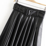 Women Vintage Faux Leather Skirt With Belt 2019 Elegant Office Ladies Black PU Midi Skirt Fashion Pleated Casual Ladies Skirts
