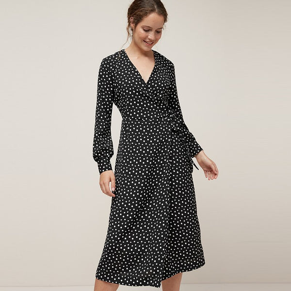 Women Vintage Polka Dot Casual Long Dress 2020 Elegant V Neck Long Sleeve Wrap Party Dresses Female Boho Split Sashes Vestido