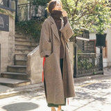 Women Winter Wool Blend Coat 2019 Fashion Plaid Loose Batwing Sleeve Long Woolen Coat  Trench Warm Outwear Female Jacket