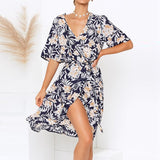 Women Wrap Long Dress 2019 Summer Boho Floral Print Beach Dress Sexy V neck Split Party Dress Elegant Sundress Robe Femme