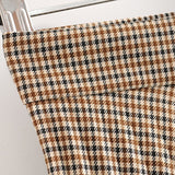 Women's High Waist Plaid Pleated Midi Skirt Vintage Elegant Ladies Side Zipper Saias Casual Loose Falda Mujer Streetwear Skirts