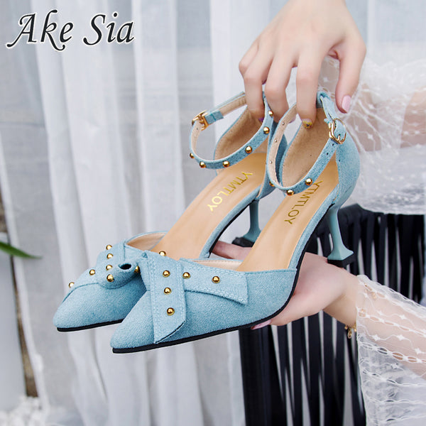 Word buckle female sandals baotou fine high heel buckle single shoes 2019 new tie bow rivets sandals women