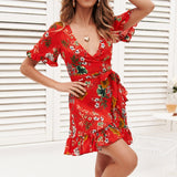 Wrap Mini Dress Women Boho Style Floral Print Summer Beach Dress Sexy V Neck A Line Ruffle Party Dress Elegant Sundress Robe