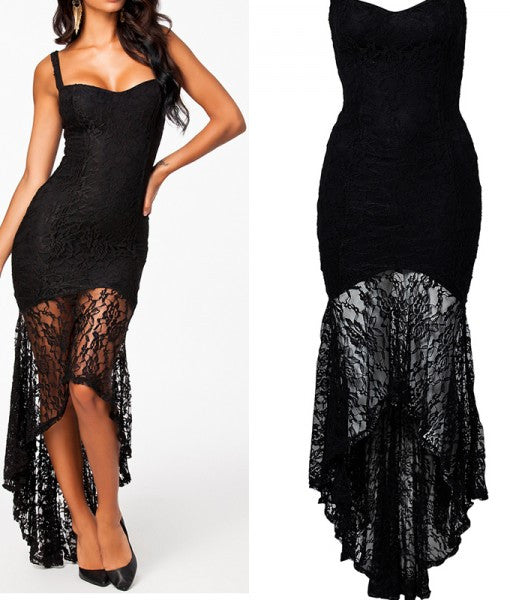 New Party Dresses Black Floral Lace Speghetti Strap Long Maxi Dress Irregular