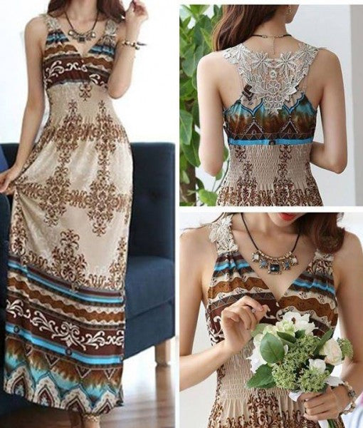 Elegant Wrapped Neck Bohemian Summer Maxi Dress