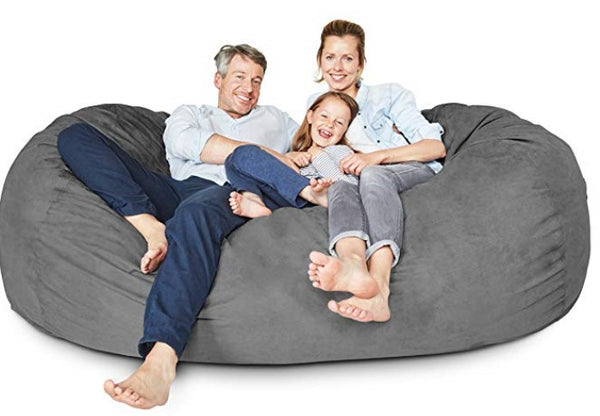 Lumaland Luxury 7-Foot Bean Bag Chair with Microsuede Cover Dark Grey, Machine Washable Big Size Sofa