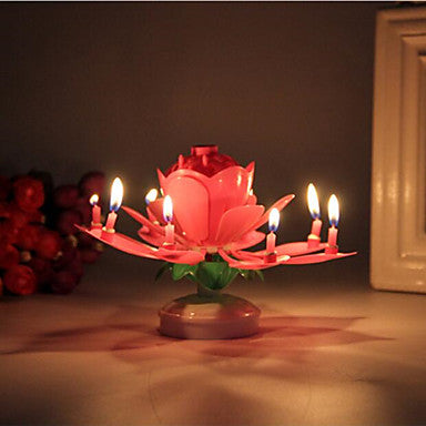 Lotus Flower Candle Birthday Party Cake Music Sparkle Cake Topper Rotating Candles Decoration