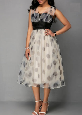 Mesh Patchwork Dot Print High Waist Dress