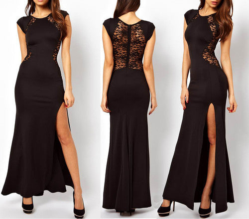 Womens Sexy Lace See-through Back Slim Bodycon Split Side Maxi Long Party Dress