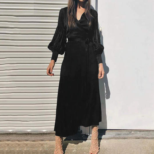 Women's Puff Sleeve Maxi Long Dress