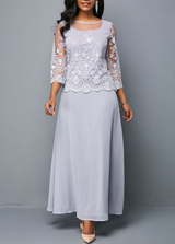 Lace Panel Three Quarter Sleeve Chiffon Dress