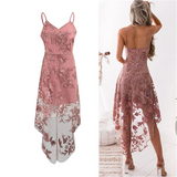 Gorgeous Flower Embroidery V-Neck Pink Lace Dress