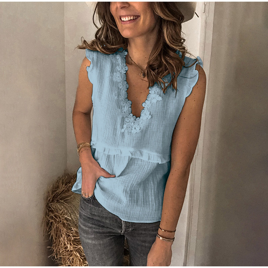 Sleeveless V neck Women Blouse Casual Tops