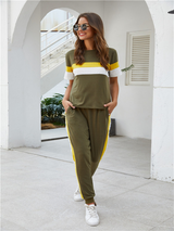 women's color matching short-sleeved suit pants two-piece sportswear