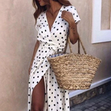 Women Polka Dot High Split Dress