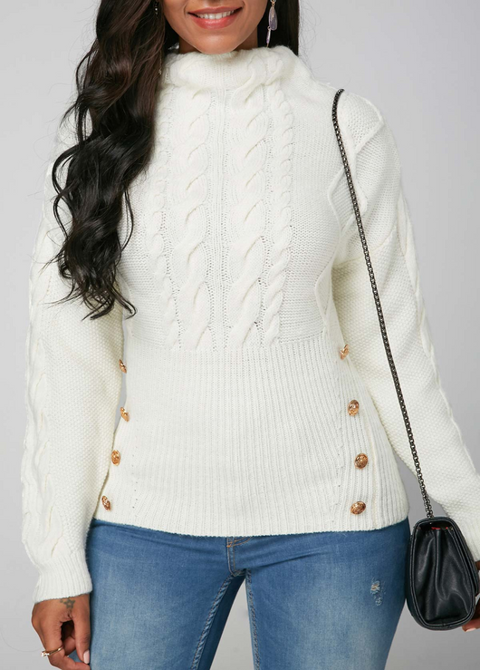 Long Sleeve White Cable Knit Sweater